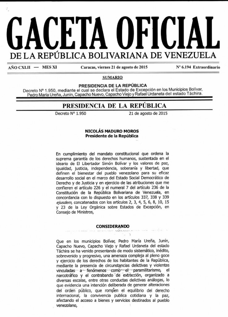 gaceta oficial av bolivar