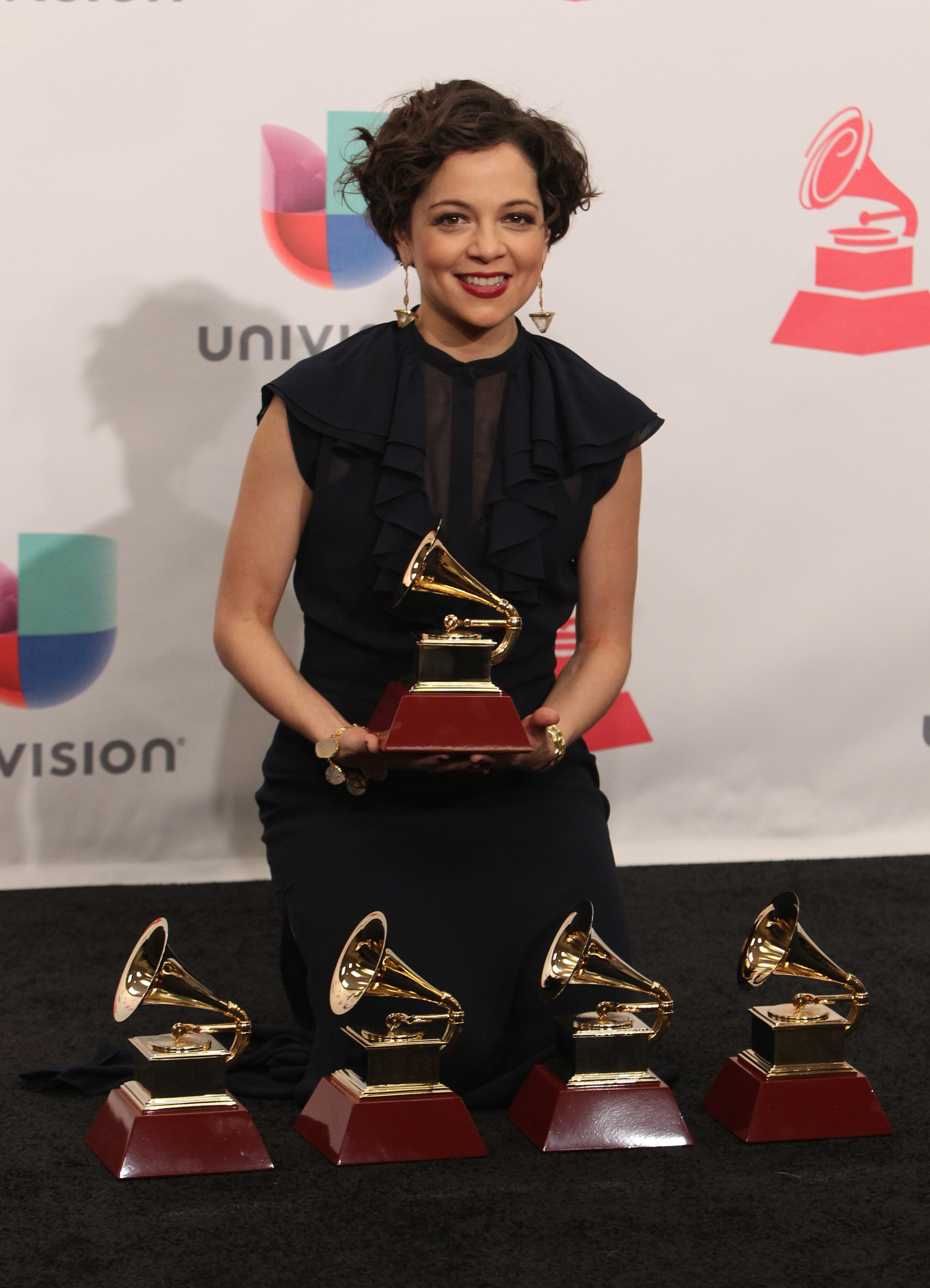 Natalia Lafourcade poses with the trophy during the 16th Annual Latin Grammy Awards on November 19, 2015, in Las Vegas, Nevada. AFP PHOTO/CHRIS FARINA / AFP / CHRIS FARINA