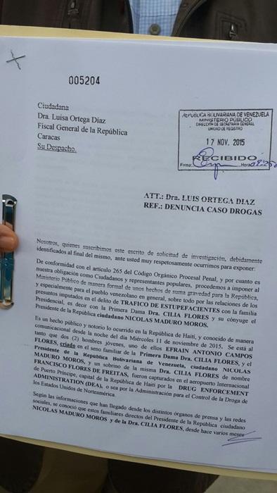 Oposición solicita investigar caso de sobrinos de Cilia Flores