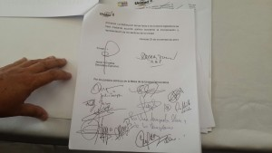 documento firmado de la MUD AN
