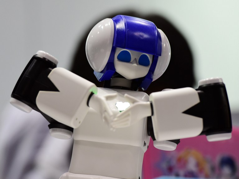 "A 46cm tall humanoid robot ""Premaid AI"" dances during a demonstration at the annual International Robot Exhibition in Tokyo on December 2, 2015. Users can download dancing motion data through an Android smartphone. Some 450 companies and organisations displayed their latest robots and 5,000 people were expecting to visit a four-day event. AFP PHOTO / Yoshikazu TSUNO / AFP / YOSHIKAZU TSUNO"