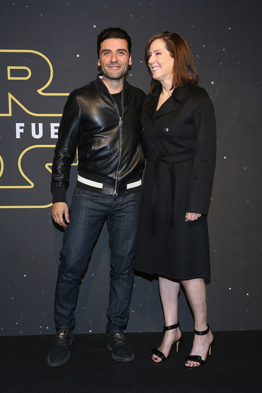 """MEXICO CITY, MEXICO - DECEMBER 08: Actor Oscar Isaac and film producer Kathleen Kennedy attend the """"Star Wars: The Force Awakens"""" Mexico City premiere fan event at Cinemex Antara Polanco on December 8, 2015 in Mexico City, Mexico.   Victor Chavez/Getty Images for Walt Disney Studios'/AFP"""