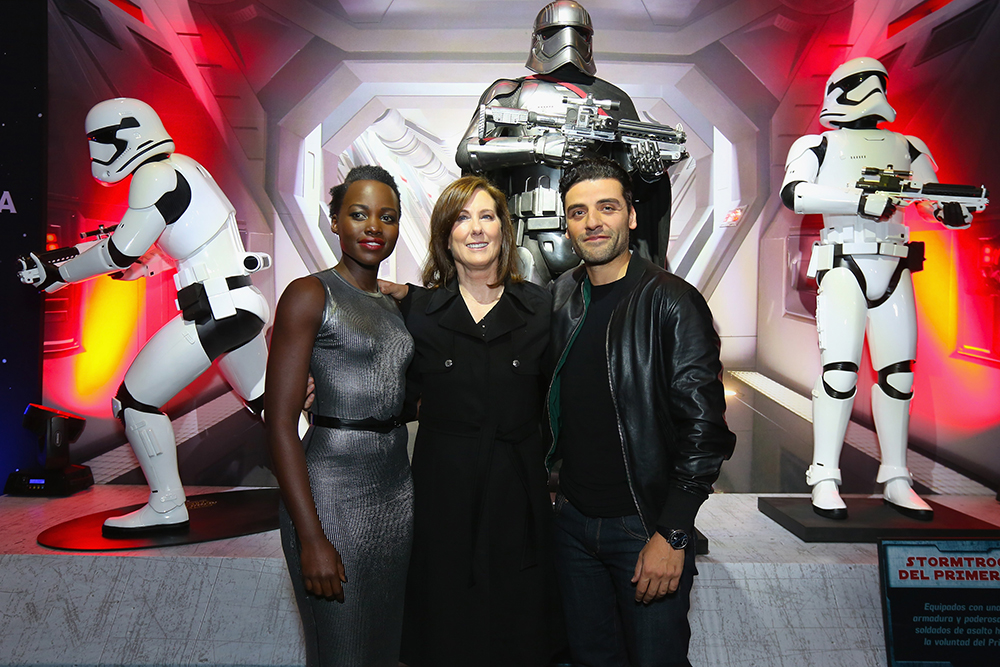 "MEXICO CITY, MEXICO - DECEMBER 08: (L-R) Actress Lupita Nyong'o, film producer Kathleen Kennedy and actor Oscar Isaac attend the ""Star Wars: The Force Awakens"" Mexico City premiere fan event at Cinemex Antara Polanco on December 8, 2015 in Mexico City, Mexico.   Victor Chavez/Getty Images for Walt Disney Studios'/AFP"